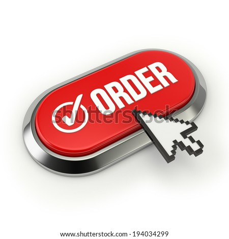 Long red order button with chrome border on white background