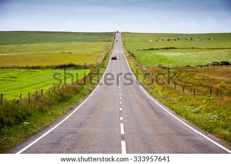 long road across moorland on the isle of skye  - Great Britain, UK, Europe - stock photo