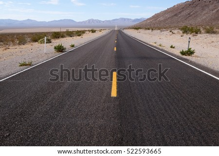 Long road of death valley in california
