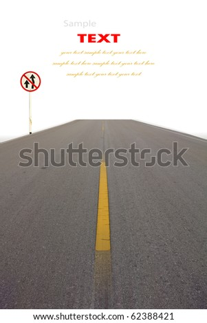 Long road stretching out into the distance and Traffic sign - stock photo