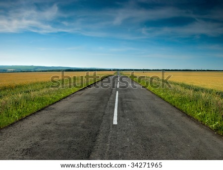 Long road stretching out into the wheat fields - stock photo