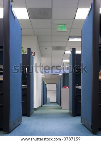 Long row of empty office cubicles - stock photo