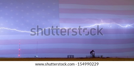 Long run lightning bolt soaring across the sky with oil well pump jack and two communication towers. - stock photo