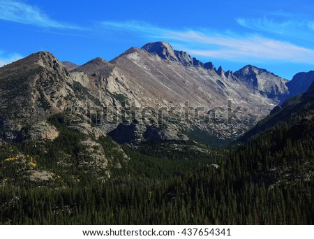 long's peak  as seen from the trail to lymph lake  in rocky mountain national park, colorado        - stock photo