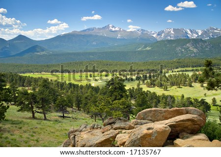 Long's Peak vista in the Rocky Mountain National Park, Colorado. - stock photo