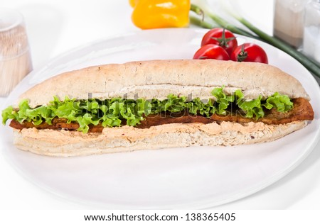 Long sandwich made from integral bred with tofu cheese and vegetable on plate - stock photo