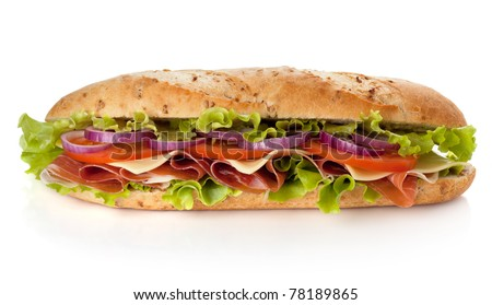 Long sandwich with ham, cheese, tomatoes, red onion and lettuce. Isolated on white - stock photo