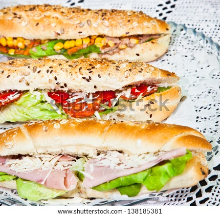 Long sandwiches made from integral bred with cheese and vegetable on plate - stock photo