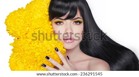 Long shine hair. Brunette Young attractive woman. Manicured nails. Clean skincare. Beauty face. Isolated on white background. Studio. - stock photo