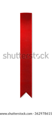 Long, shiny red ribbon bookmark for use as a page reminder. Photographed isolated on a white background. An attractive design element for web pages and brochures. - stock photo