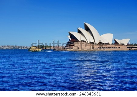 Long shot picture of the Sydney Opera House on 28 November 2014. This landmark is a multi-venue performing arts center in Sydney, New South Wales, Australia.  - stock photo