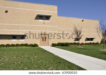 Long sidewalk by the Whitehall Middle School in Whitehall, Pennsylvania - stock photo