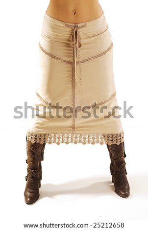 Long skirt and boot isolated - stock photo