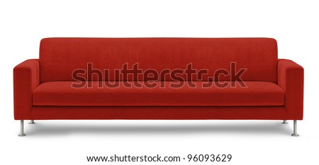 long sofa, bench on white background - stock photo