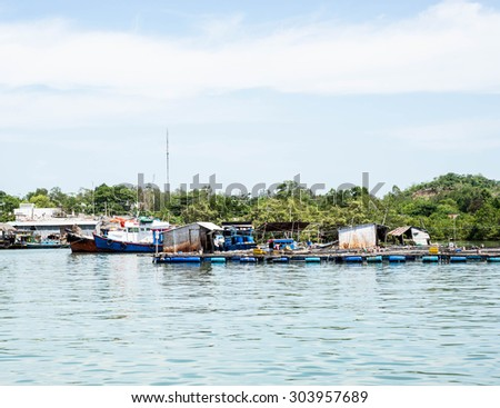 LONG SON, VIET NAM - MAY 31 2015: People's daily life at fishing village Long Son