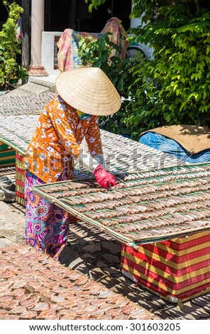 Long Son Village, Ba Ria - Vung Tau Province, Vietnam - 31 May 2015: A woman drying fish on the net