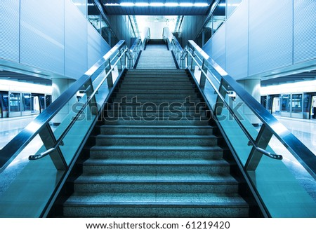 long stair in a train station in hong kong - stock photo