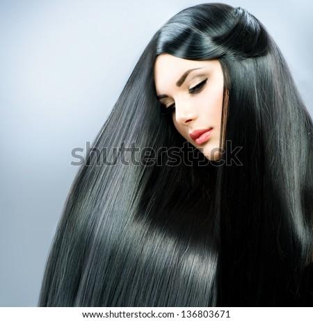 Long Straight Hair. Beautiful Brunette Girl. Healthy Black Hair. Beauty Model Woman. Hairstyle - stock photo