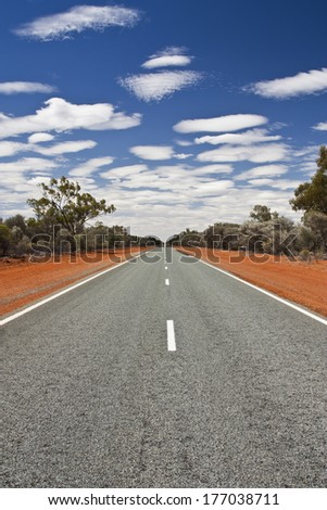 long straight road in outback Australia - stock photo