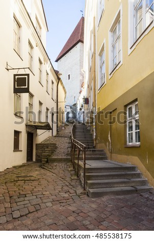 Long street with stairs called Luhike Jalg (Short leg) in the old town of Tallinn, Estonia