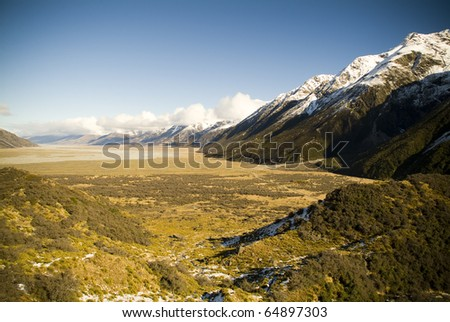 Long, sweeping mountain valley in New Zealand