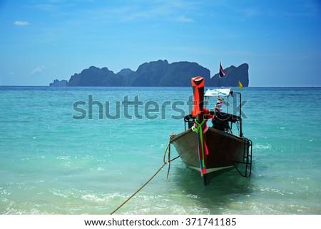 Long tail boat at Koh Phi Phi, Thailand - stock photo