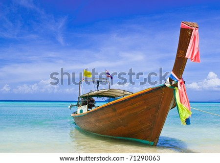Long tail boat at Phiphi island, Thailand