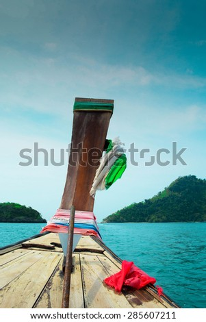 long tail boat for tourism in south of Thailand - stock photo