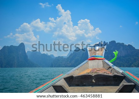 Long tail boat in ratchaprapha dam, Suratthani, Thailand.