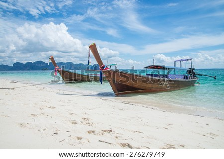 Long-tail Boat on the Beach