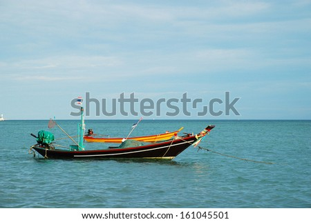 Long tail boats on in the sea with clear sky background, Pha Ngan Island, Thailand