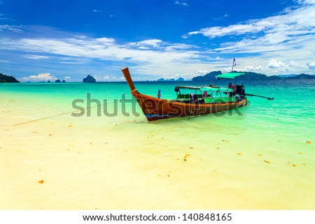 Long tailed boat at Kradan island, Thailand