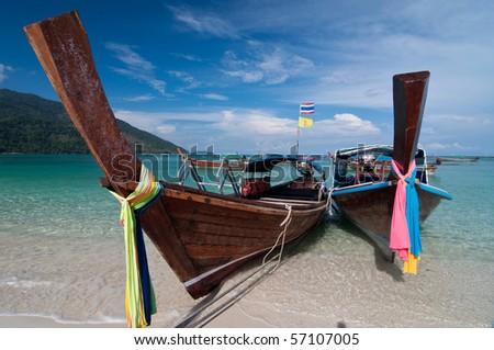 Long-tailed boat at Lipe - stock photo