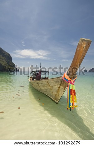 Long tailed boat at Phi phi island, Thailand
