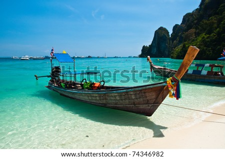 Long tailed boat at Phiphi island in Thailand