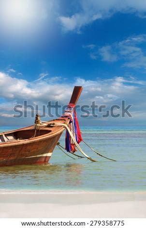 Long tailed boat in Phuket Thailand - stock photo