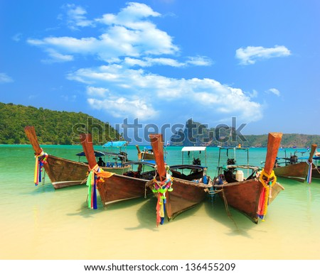 Long tailed boat Ruea Hang Yao in Phi Phi island Thailand - stock photo