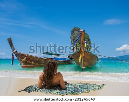 Long tailed boat Ruea Hang Yao in Phuket Thailand - stock photo