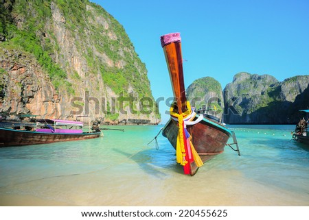 Long tailed boat. Thailand Phi-Phi islands - stock photo