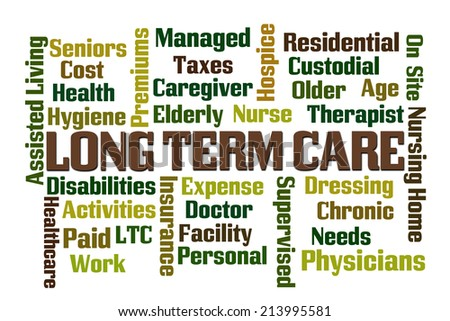 Long Term Care word cloud on white background - stock photo