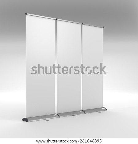 long three rollups or banners in a row - stock photo