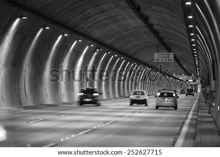Long tunnel between Sao Paulo city and Santos beach - stock photo