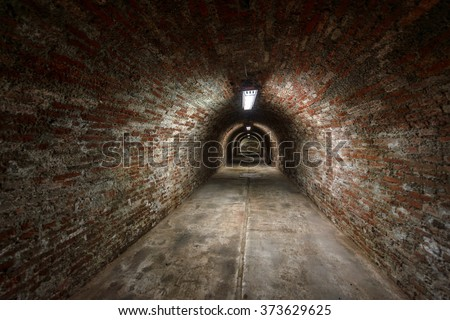 Long underground brick tunnel angle shot - stock photo
