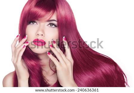 Long wavy shine hair. Attractive girl with manicure nails and beauty makeup isolated on white background. - stock photo