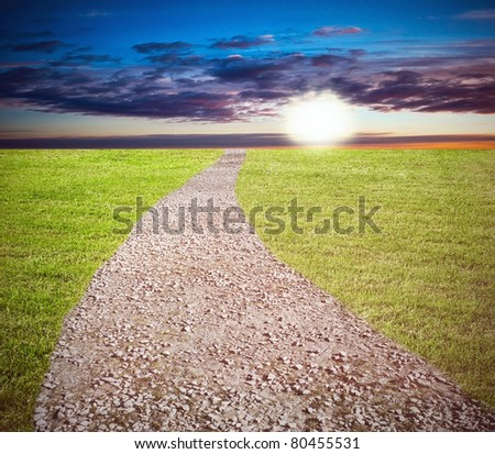 Long way in the field at the sunset - stock photo