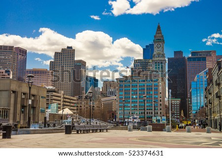 Long Wharf Landing and the Custom House and Financial District in Boston, Massachusetts, USA.