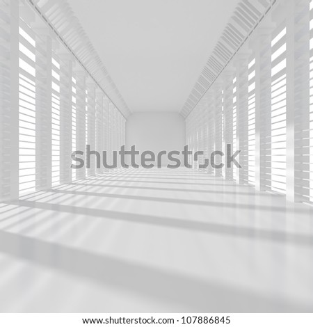 Long White Room - 3d illustration - stock photo
