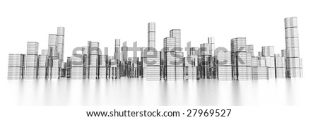long wide modern skyline