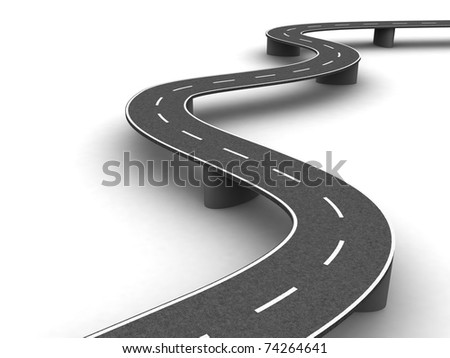 Long winding road on the supports - stock photo