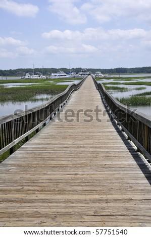 long wooden dock - stock photo